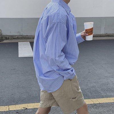襯衫 韓版 秋款原創日系復古街頭廓形條紋休閑長袖襯衫韓版寬松BF男士襯衣潮