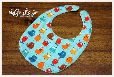 ♥gritas handmade♥純棉手作嬰幼兒圍兜兜/領巾/口水巾/三角巾/彌月禮—小怪獸