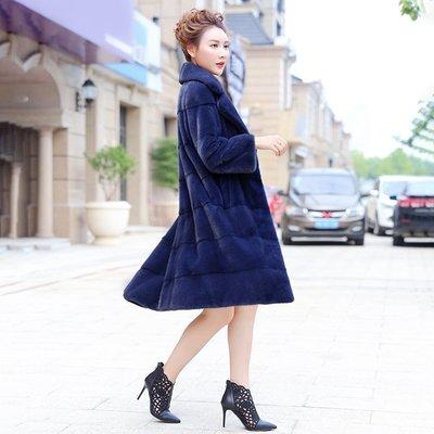'OVERCOAT'時尚年輕進口天鵝絨整貂水貂貂皮大衣女中長款裘皮草外套顯瘦海寧