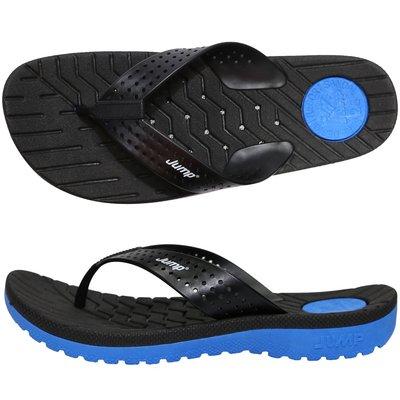 鞋大王Jump 072 黑×藍 夾腳拖鞋,防滑、防水、耐磨、透氣、排水【台灣製】