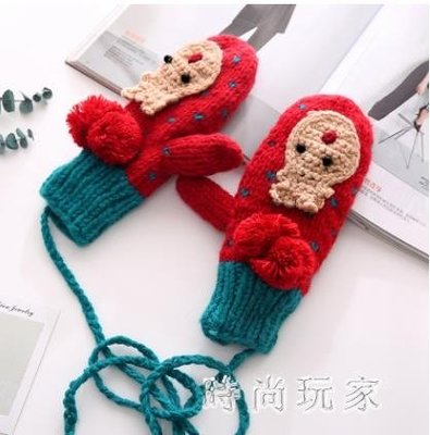 韓版可愛章魚全指手套加絨加厚保暖冬季掛脖手套學生情侶zzy5998
