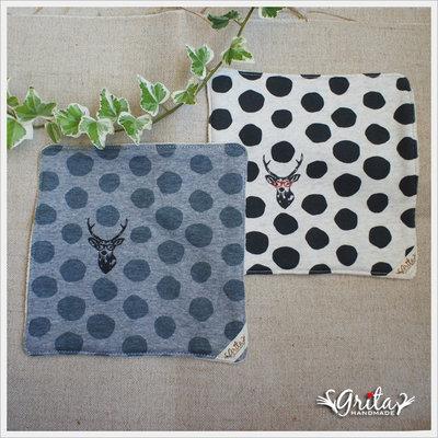 ♥grita's handmade♥日本進口針織棉布手帕/方巾/口水巾-戴眼鏡的鹿(現貨)