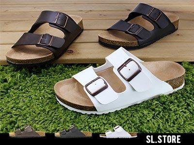 SL Store【FNP01】休閒舒適軟木底雙排一字拖鞋‧黑/咖啡/白