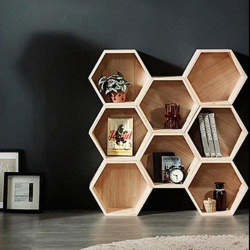 六邊形實木置物架客廳展示架陳列架六邊形創意書櫃書架兒童置物架(有背板)_☆優夠好SoGood☆