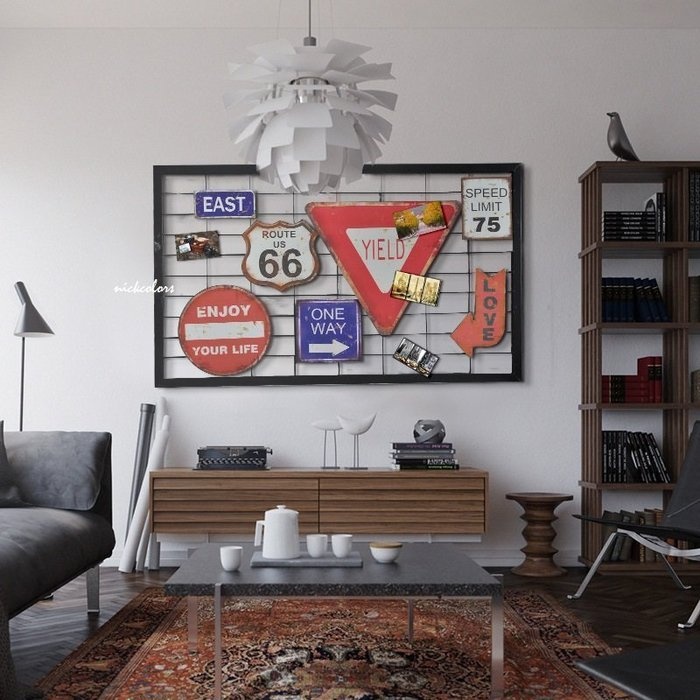 尼克卡樂斯~LOFT工業風創意複古懷舊鐵牌掛飾 牆壁裝飾畫 美式66號公路鐵皮車牌 咖啡廳掛畫 美式餐廳裝飾 留言板壁掛