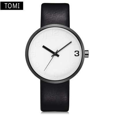 詩高迪現貨 TOMI品牌男款時裝手表 wish熱賣簡約優質PU皮石英表za17