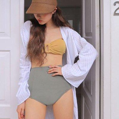 Qmi 性感高腰撞色抹胸三角聚攏修身比基尼泳裝