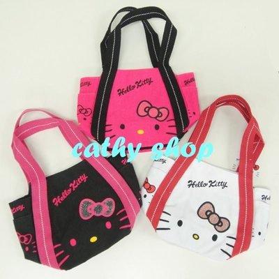 *凱西小舖*日本進口三麗歐正版KITTY凱蒂貓帆布手提收納托特包*3選1