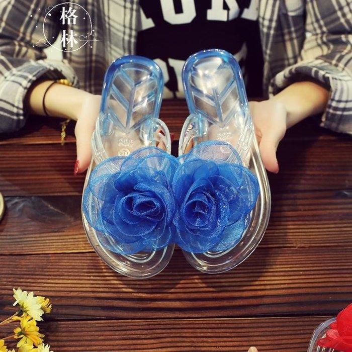 甜美蕾絲大花朵果凍涼鞋女夾腳人字拖鞋塑料水晶鞋透明沙灘鞋潮GLSJ8050