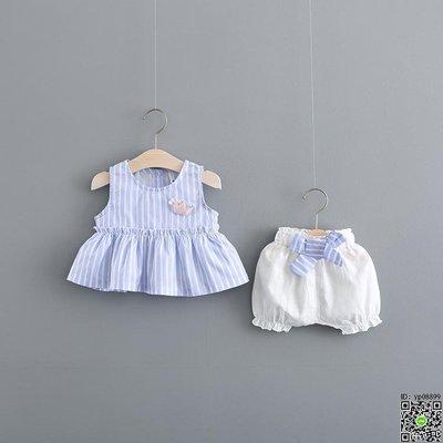 套裝 嬰幼兒夏裝套裝0-1歲女童衣服洋氣3女寶寶夏季兩件套裙一周歲公主 2款