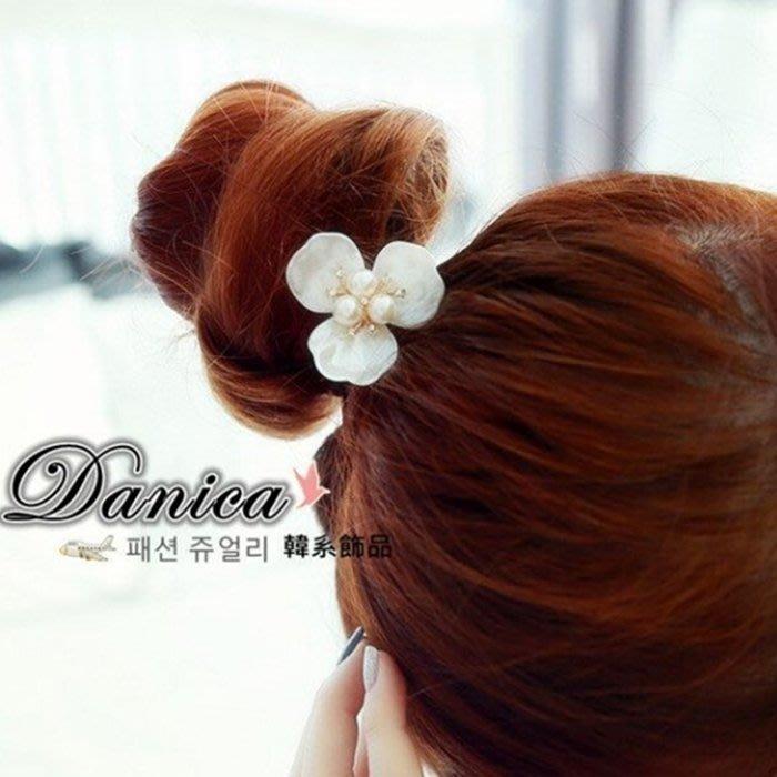 髮束 現貨 韓國 熱賣 氣質 甜美 小香風 花朵 珍珠 水鑽 髮飾 K7255 單個價 Danica 韓系飾品 韓國連線