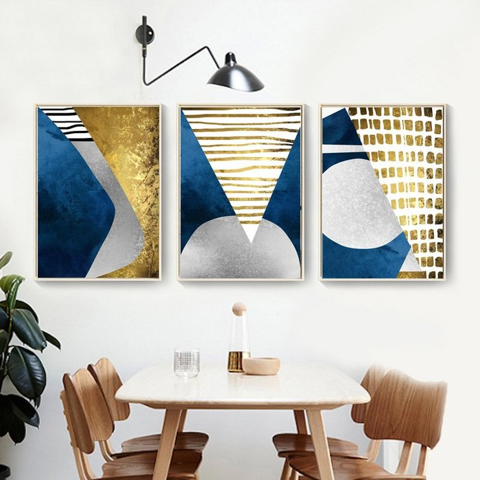 三幅一組油畫布 抽象色塊圖形 畫芯/畫布/30X40☺暖暖屋☺傢居藝術館