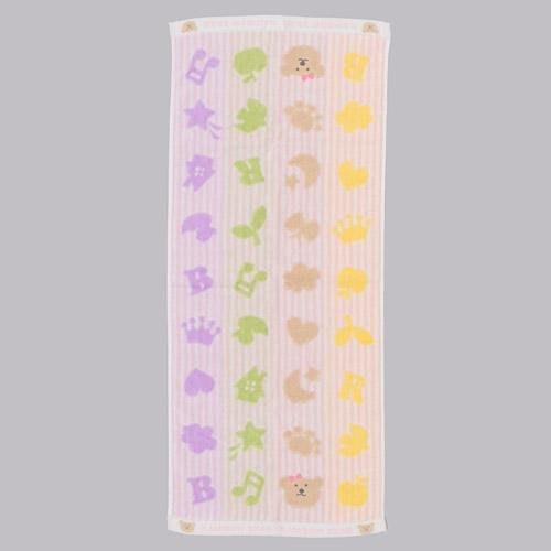 日本製 彩條音符彩虹熊系列 金治棉長毛巾