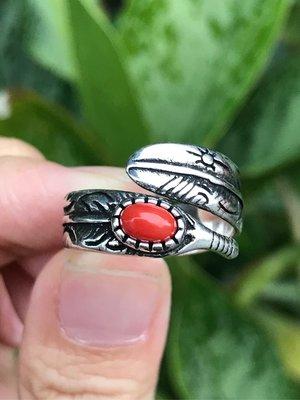 天然紅珊瑚戒指  紅珊瑚做舊個性款羽毛造型925銀活圍戒指 中性潮流指環《舒唯水晶》