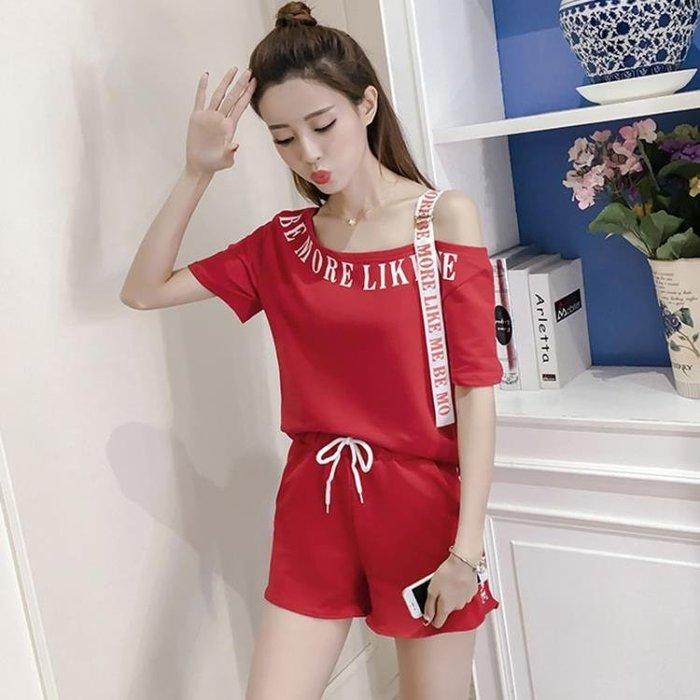 中大尺碼 短褲套裝 2018夏季新款時尚休閒露肩兩件式女 GY1061