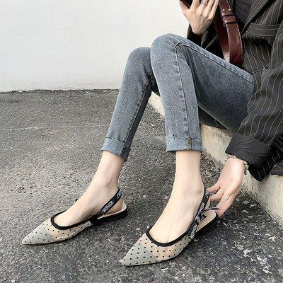 爆款--涼鞋女新款夏網面淺口復古時尚小...
