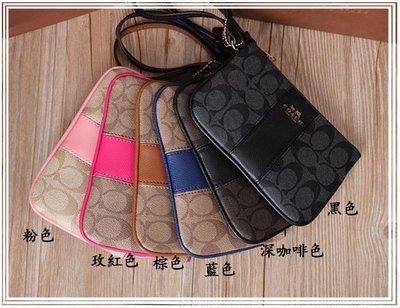 小皮美國正品代購 COACH 52860 女士手拿包 手腕包 零錢包 經典版C紋拼接真皮款 六色可選 附購證