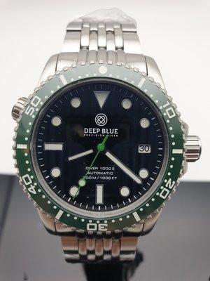 2020最高CP值專業潛水錶DEEP BLUE Master1000ii (44mm或40mm)黑面綠圈