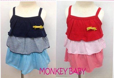 全館滿699免運【MONKEY BABY 】台灣製細肩帶蛋糕裙洋裝藍色、紅色2色可選(8667)
