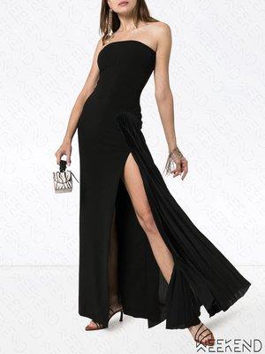 【WEEKEND】 SOLACE LONDON 平口 低胸 拼接百褶拖擺 開岔 連身裙 長洋 黑色