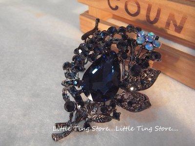 Little Ting Store:婚禮晚宴維多利亞古銅黑灰大水滴藍寶石花漾別針水晶鑽造型帽針大胸針別針