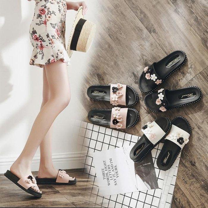 新款拖鞋女時尚一字拖平底外出沙灘鞋外穿厚底防滑涼拖鞋夏季 【korea時尚記】
