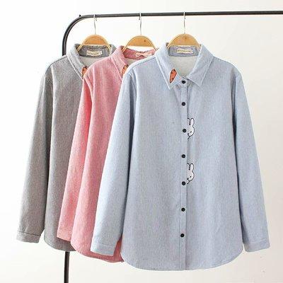 韓國連線-大碼女裝冬新款3色加大條紋磨毛小白兔刺繡加絨襯衫X809780
