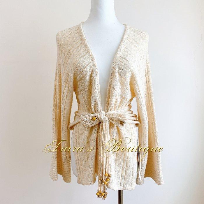rebecca taylor 植物纖維針織罩衫外套 木珠流蘇 浪漫的波希米亞風格 優質單品難再尋 (315)