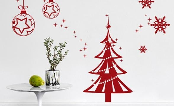 小妮子的家@聖誕珠珠聖誕樹壁貼/牆貼/玻璃貼/磁磚貼/汽車貼/家具貼