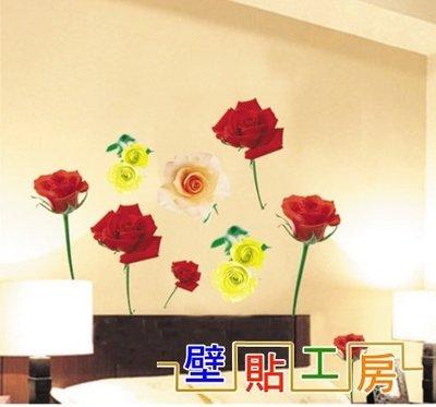 壁貼工房-三代大尺寸 創意可移動壁貼 壁紙 牆貼 玫瑰花 JM 8074