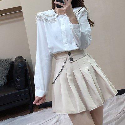 格格正品女裝~春季學生減齡套裝女珍珠邊娃娃領襯衫+高腰鍊條百褶半身裙二件套