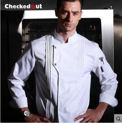 【優上】新廚廚師長工作服總廚制服酒店餐飲後廚廚師服裝廚師服長袖「白色」