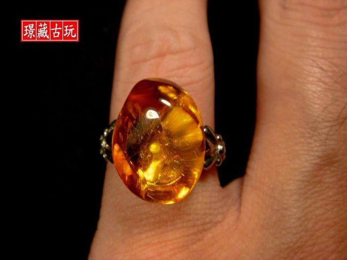 ﹣﹦≡|璟藏古玩|天然琥珀925純銀戒(4.42g) (保真天然)∥(直購價,不設底價,只給第一標)∥≡﹦﹣