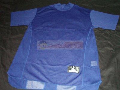 貳拾肆棒球--日本帶回REWARD高領短袖緊身衣/藍