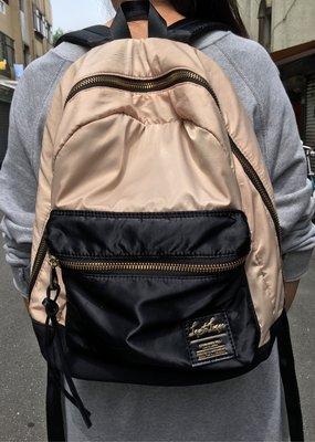 二手日本品牌Legate Largo後背包黑色駝色拼色可放A4布質後背包
