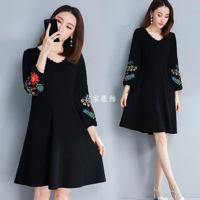 有家服飾2019春裝大碼女裝藏肉胖mm中長款刺繡200斤胖妹妹洋氣減齡連身裙