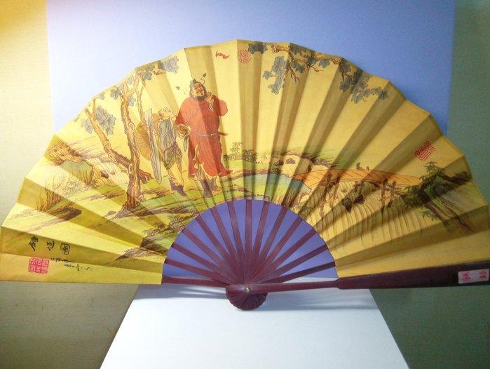 @居士林@鍾馗圖-烏竹+裐布扇.尺寸:高33公.扇子展開寬約60公分