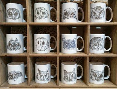 貓頭鷹素描風馬克杯系列,奧爾思獨家製作販售!歡迎企業贈品/禮品/婚禮小物訂購~大量另有優惠喔~