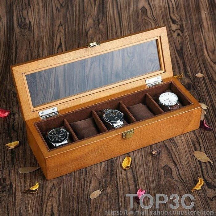 雅式歐式復古木質天窗手錶盒子五格裝手錶展示盒收藏收納盒首飾盒