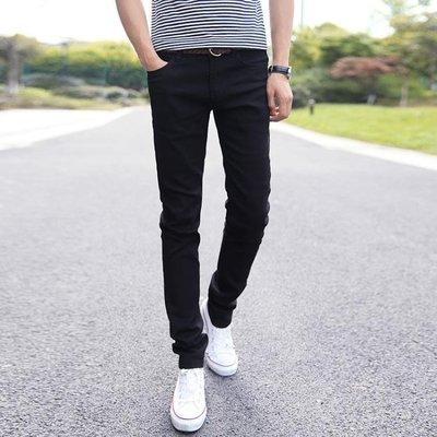 黑色彈力牛仔褲男士夏秋季休閒韓版潮青少年學生顯瘦修身小腳褲子