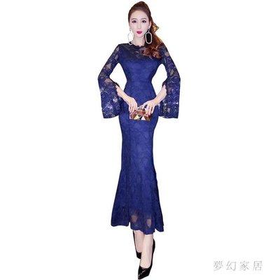 中大尺碼 魚尾禮服蕾絲連衣裙修身顯瘦包臀長袖打底魚尾裙子sd4349