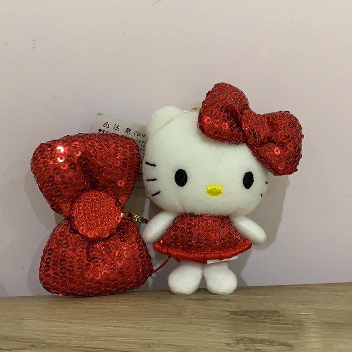 【東京家族】Hello Kitty凱蒂貓 紅色亮片蝴蝶結 玩偶吊飾