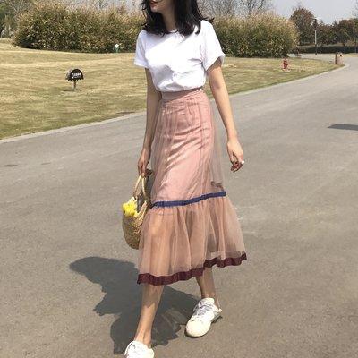 網紗裙 唯美姿態撞色百褶網紗半身裙長裙