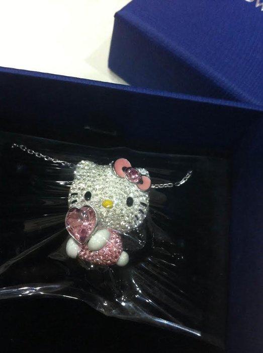 《東京家族》Kitty粉紅愛心 SWAROVSKI施華洛世奇 晶鑽項鍊