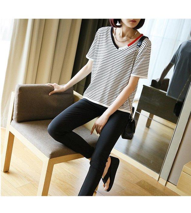 (老銀屋)夏裝新款V領短袖條紋針織線衫