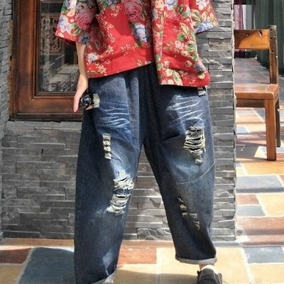 【子芸芳】原創破洞九分寬鬆蘿蔔褲牛仔垮褲休閒褲