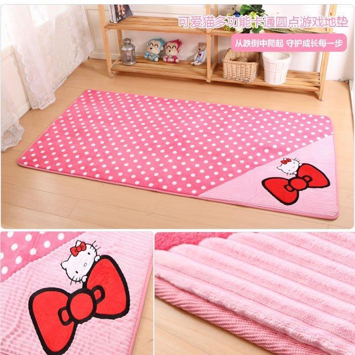 KITTY凱蒂貓可愛兒童臥室地墊門腳墊地毯廚房浴室吸水遊戲毯爬爬毯50*120