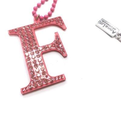Anna Lou Of London 台北ShopSmart直營店 倫敦品牌 水晶字母項鍊 V 粉紅色