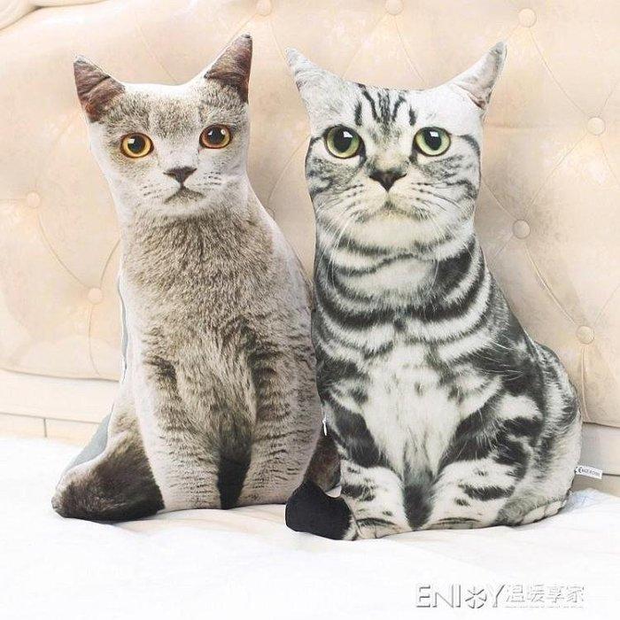 創意仿真貓咪抱枕大臉貓3d毛絨玩具女生韓國搞怪玩偶娃娃可愛萌 尚美優品