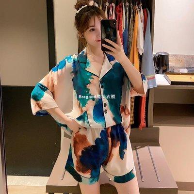 Bragood魔法衣櫃維密扎染冰絲睡衣女維多利亞夏季性感薄款家居服套裝仙女二件套
